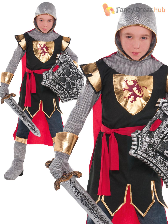 Boys-Deluxe-Medieval-Knight-Costume-Kids-Fancy-Dress-  sc 1 st  eBay & Boys Deluxe Medieval Knight Costume Kids Fancy Dress Book Week Child ...