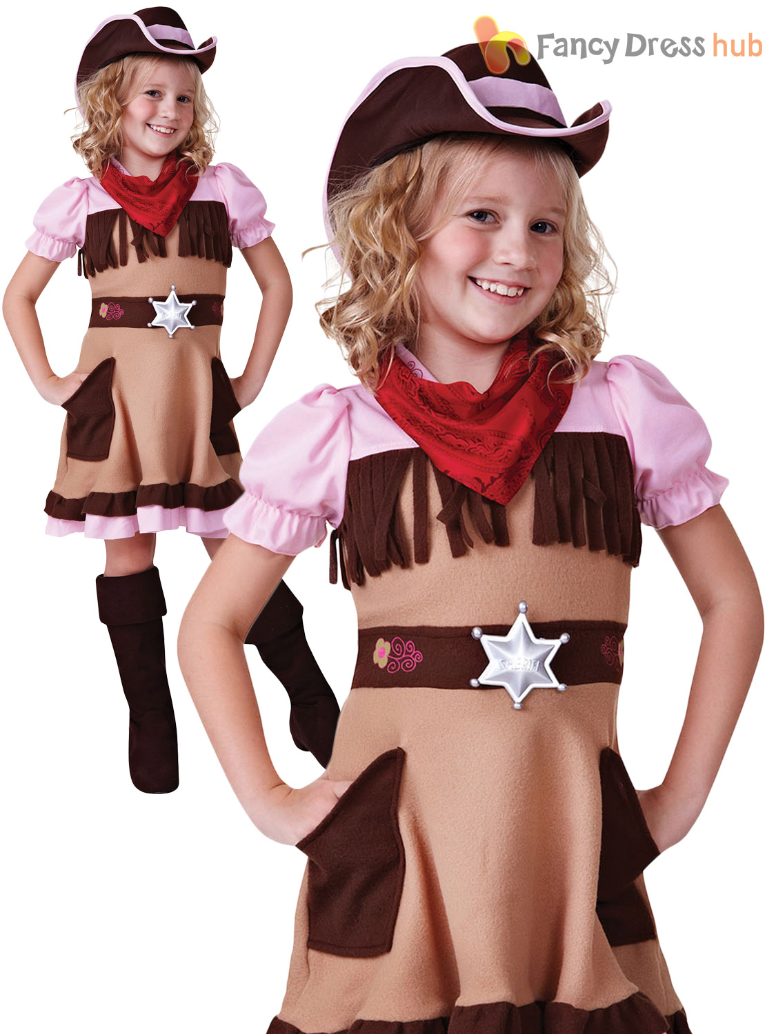 Cowboy-COWGIRL-Ninos-Chicos-Chicas-Fancy-Dress-Costume-Salvaje-Oeste-Traje-Semana-Libro