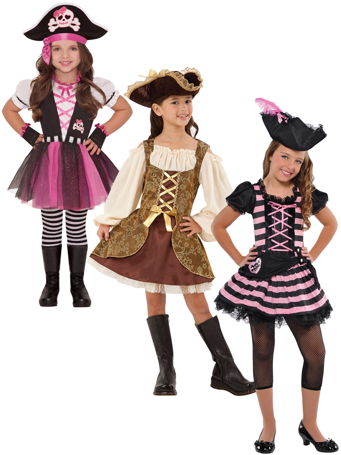 Girls Buccaneer Pirate Girl Skirt Fancy Dress Up Costume Childrens Size Choice