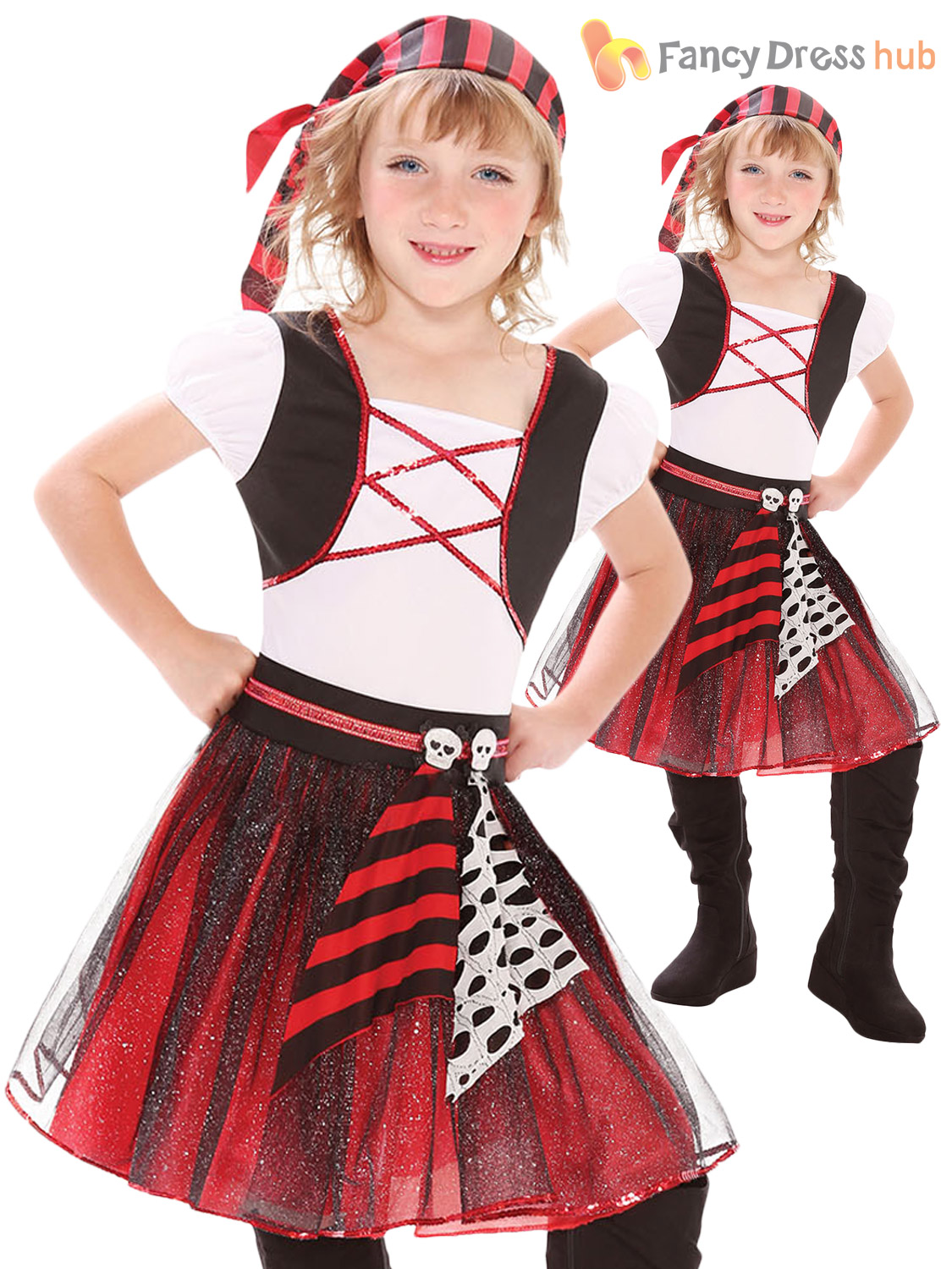 Girls pirate caribbean princess fancy dress party costume child kids girls pirate caribbean princess fancy dress party costume solutioingenieria Image collections