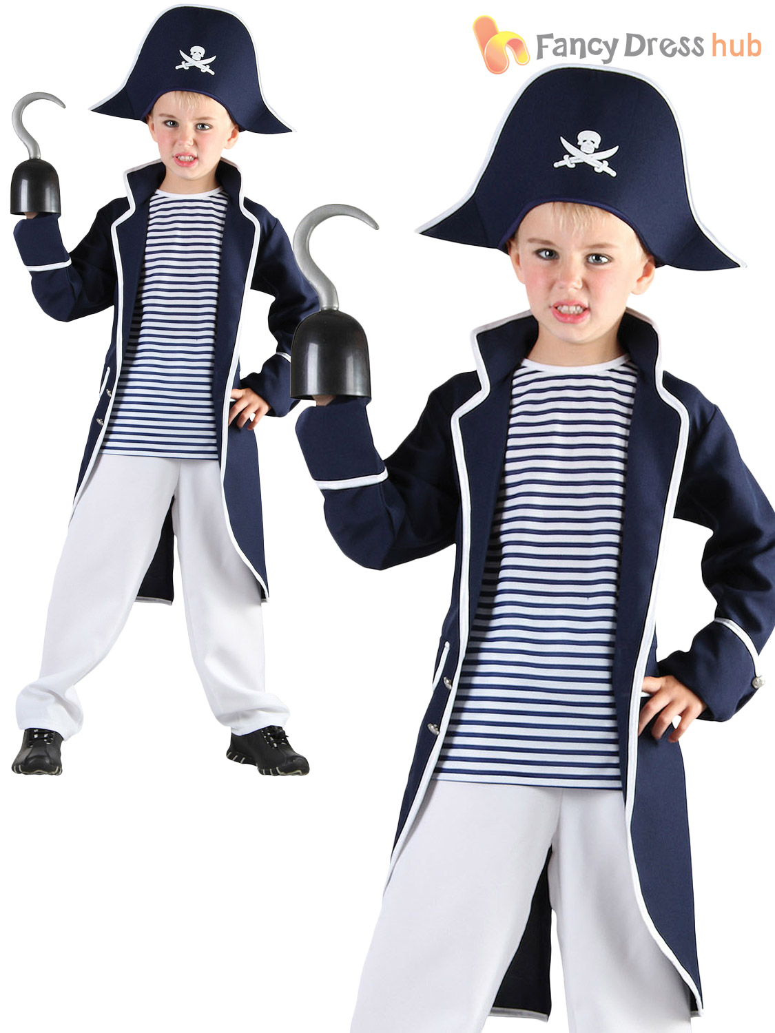 Boys-Pirate-Captain-Costume-Kids-Caribbean-Fancy-Dress-  sc 1 st  eBay & Boys Pirate Captain Costume Kids Caribbean Fancy Dress Child Book ...