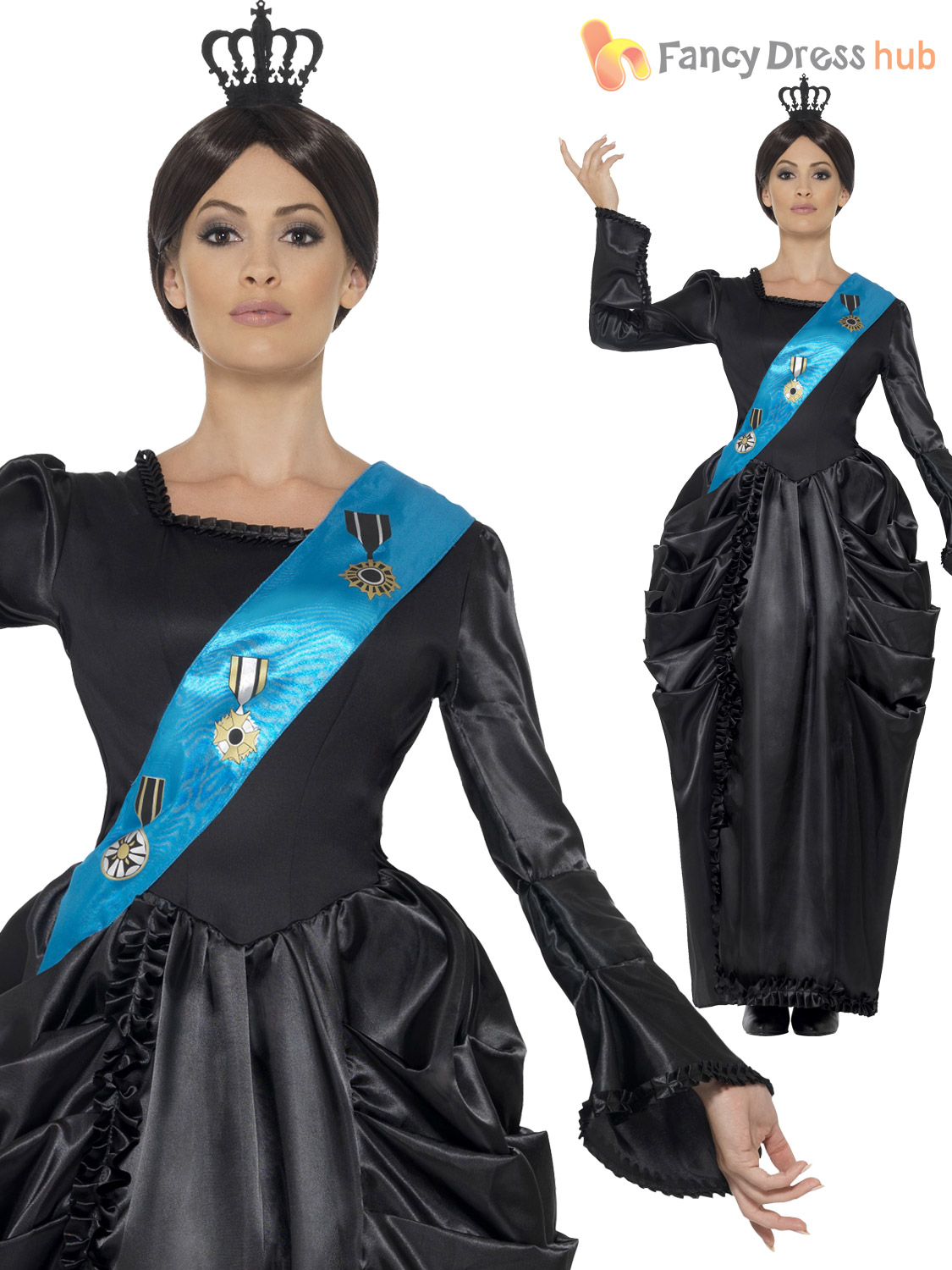 Queen Victoria Womens Fancy Dress British Royal Monarch Adult Ladies Costume New