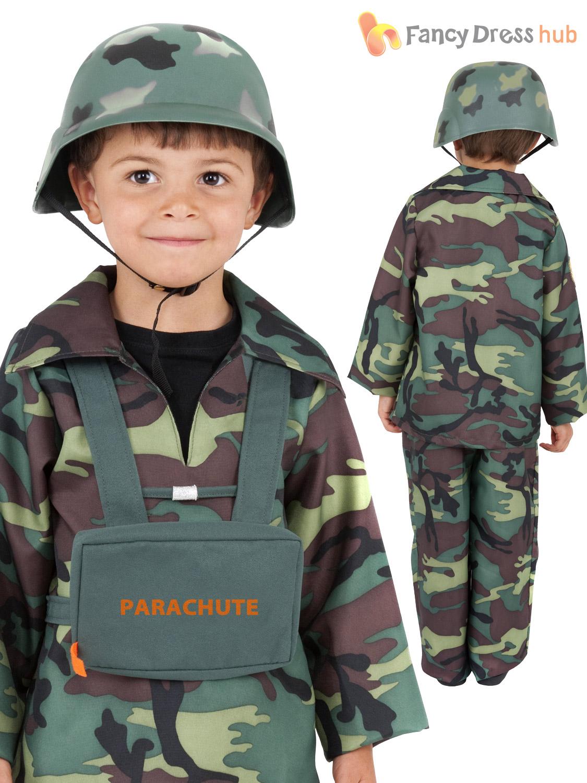 Kids World War 2 Army Soldier Combat Uniform Costume Fancy ...