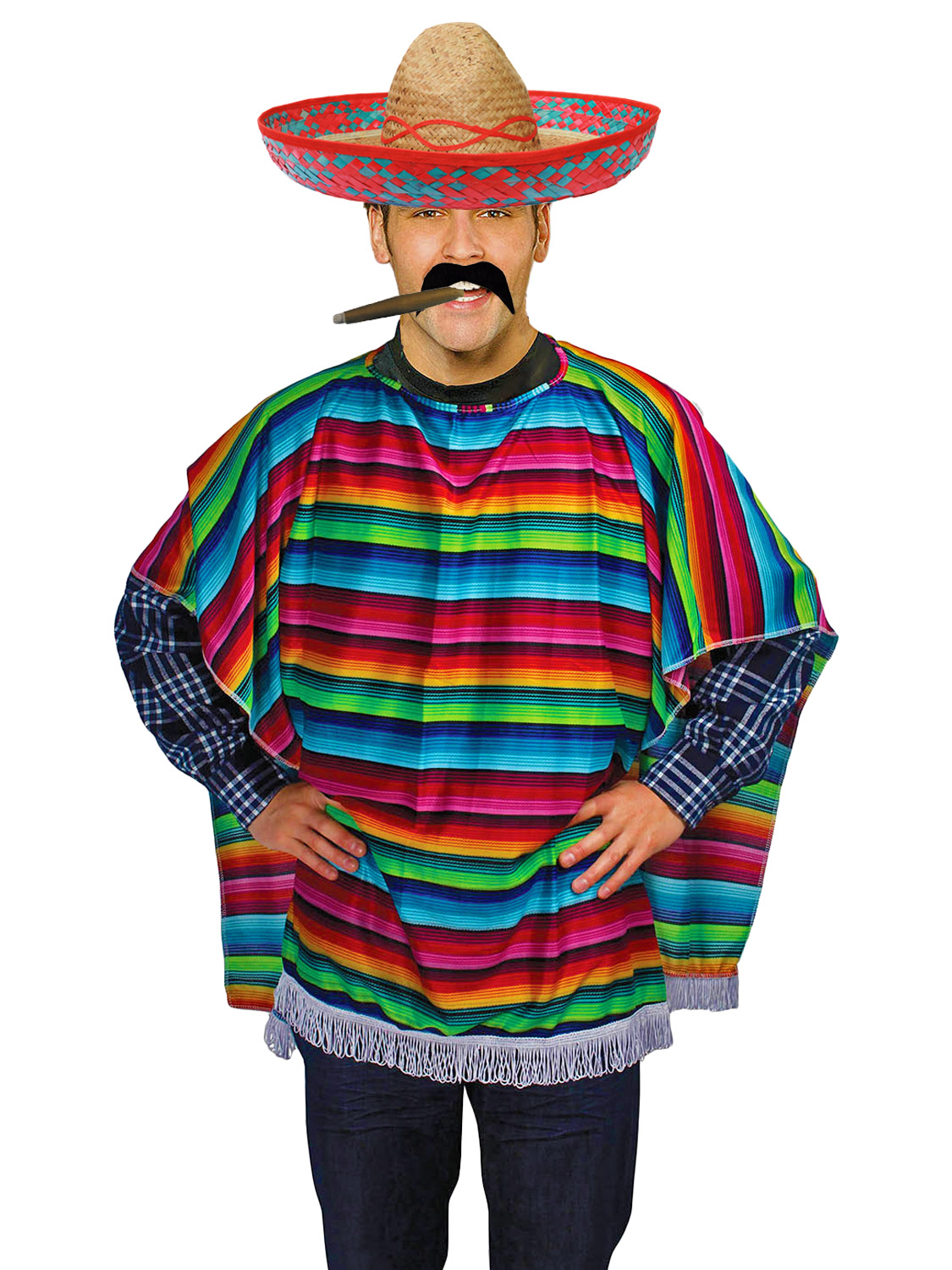 Adult Mexican Poncho + Accessories Fancy Dress Costume ...