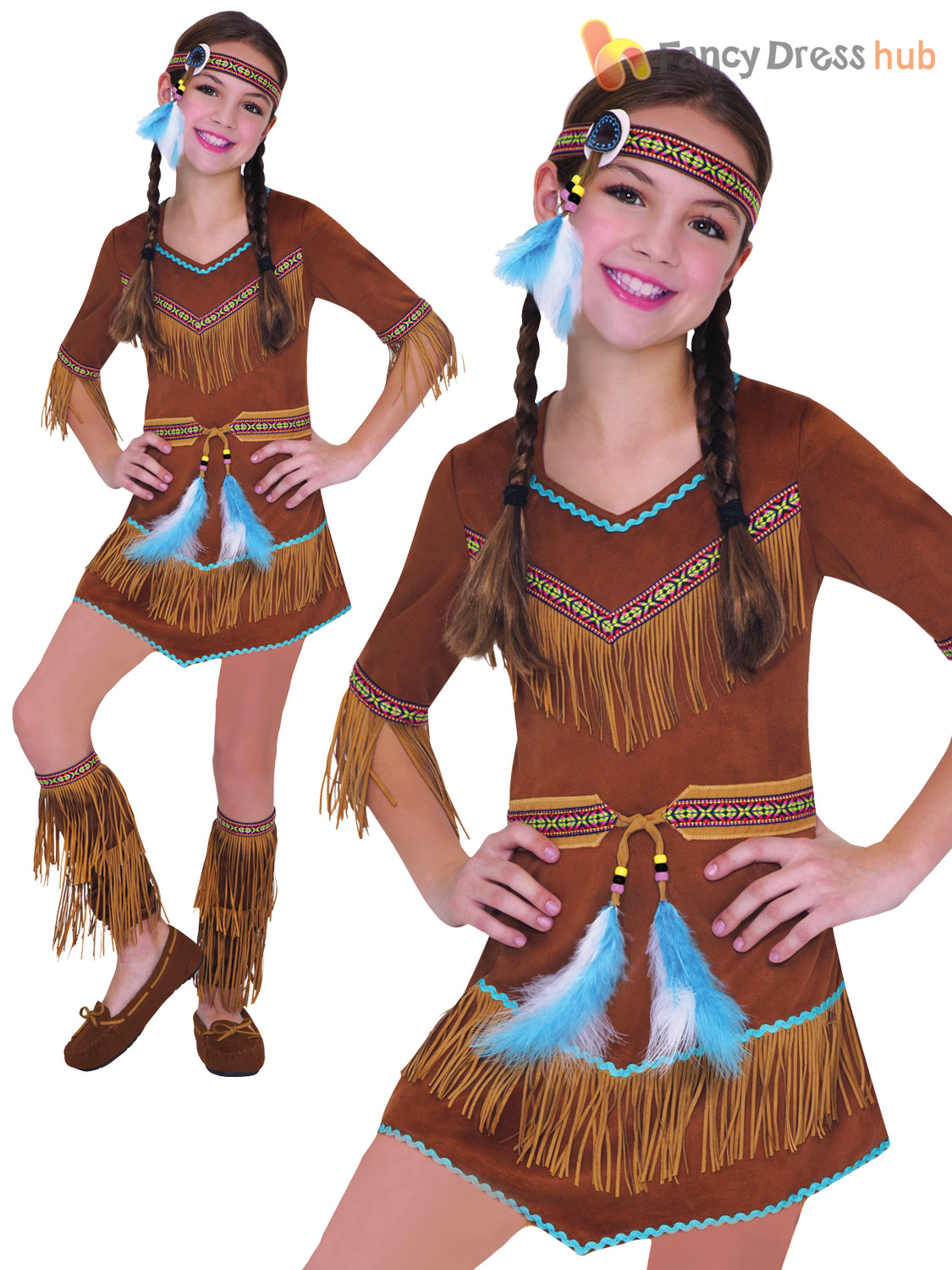 Girls-Red-Indian-Costume-Native-Fancy-Dress-Book-  sc 1 st  eBay & Girls Red Indian Costume Native Fancy Dress Book Week Costume ...