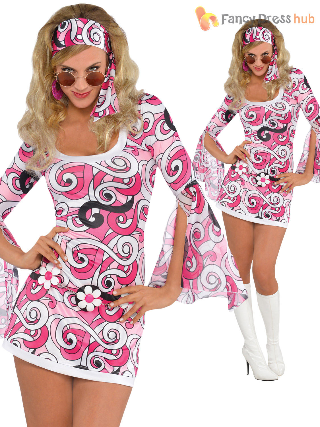Ladies Fancy Party Dress 60s 70s Flower Power Hippie Girl Costume Outfit UK