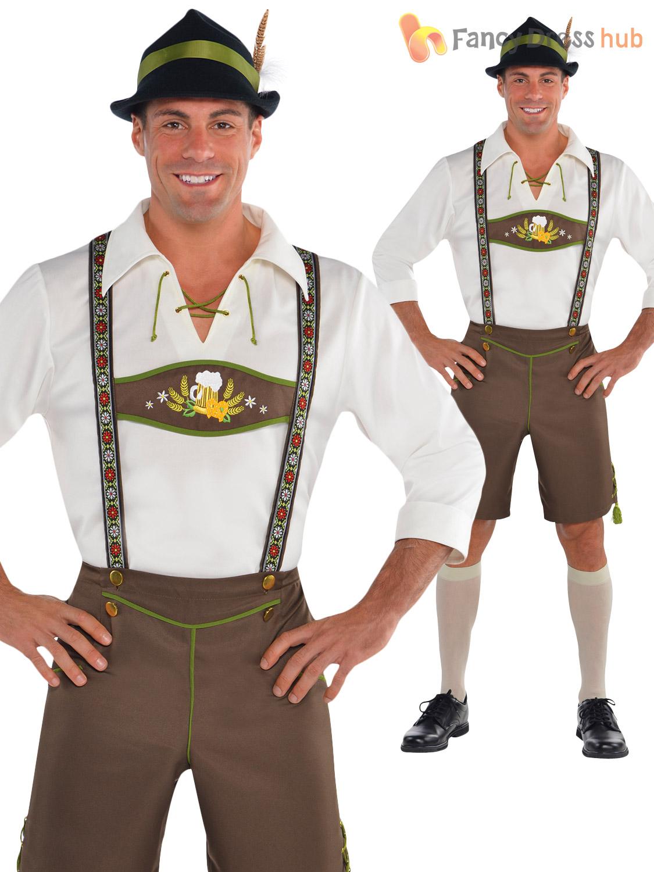 96035db5ffb Details about Mens Oktoberfest Bavarian Costumes German Lederhosen Fancy  Dress Outfit Beer