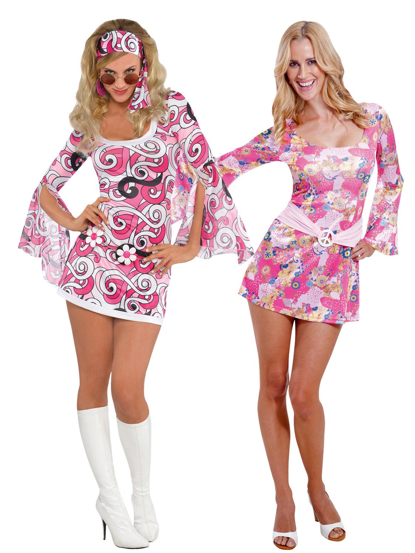 Adult Ladies 60s 70s Retro Hippy Hippie Go Go Disco Costume Fancy ...