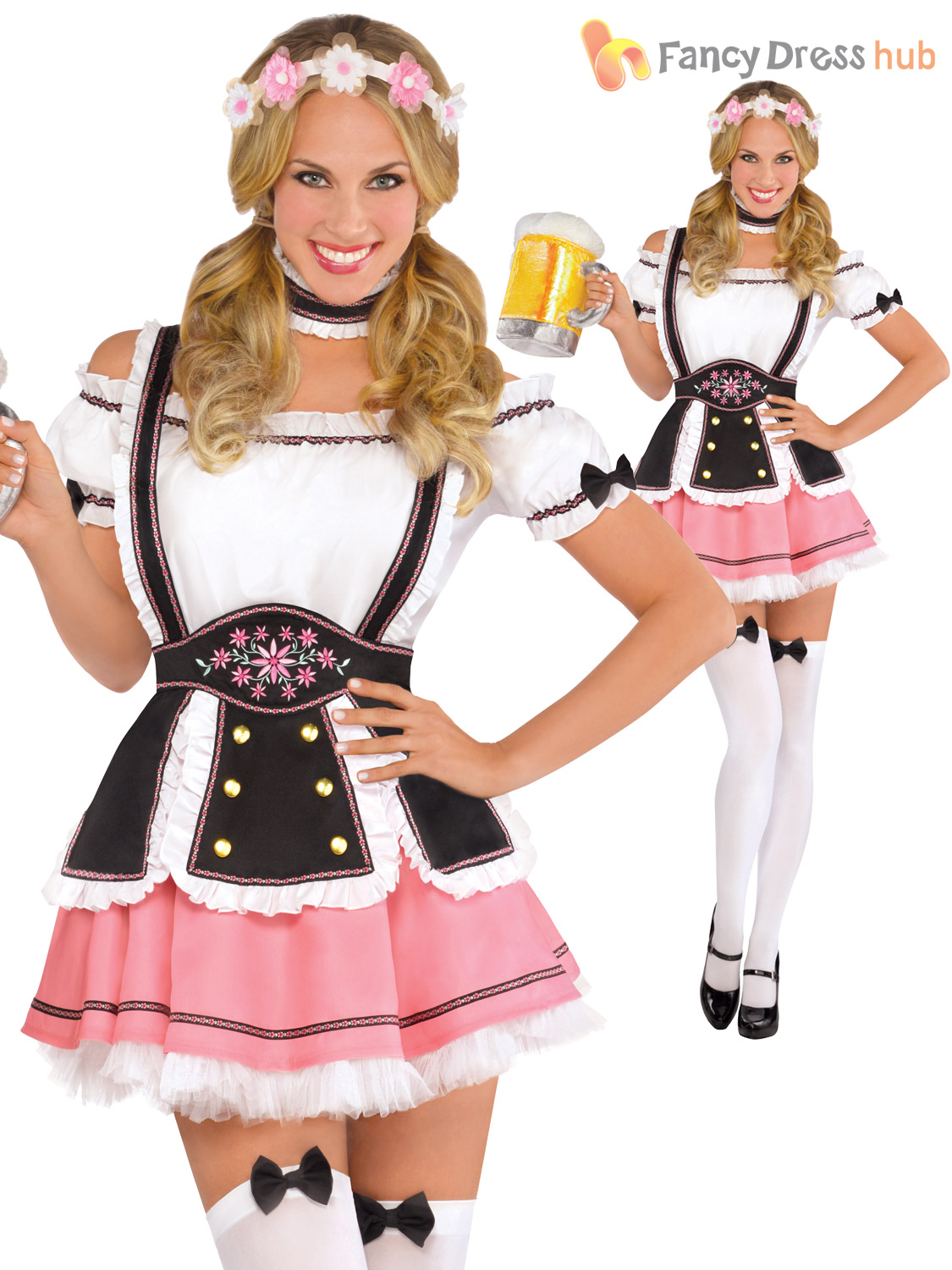 2fc1be38f88 Details about Ladies Oktoberfest Beer Maid Wench Costume German Festival  Bavarian Fancy Dress