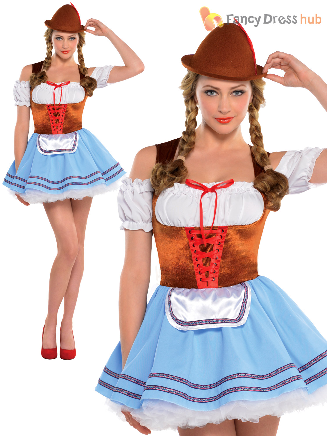 Ladies-Oktoberfest-Beer-Maid-Wench-Costume-German-Festival-  sc 1 st  eBay & Ladies Oktoberfest Beer Maid Wench Costume German Festival Bavarian ...
