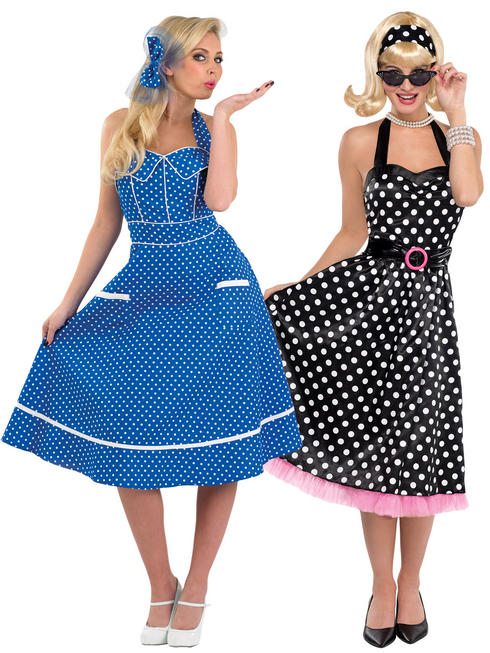 Ladies Rock N Roll 1950s Blue Dress