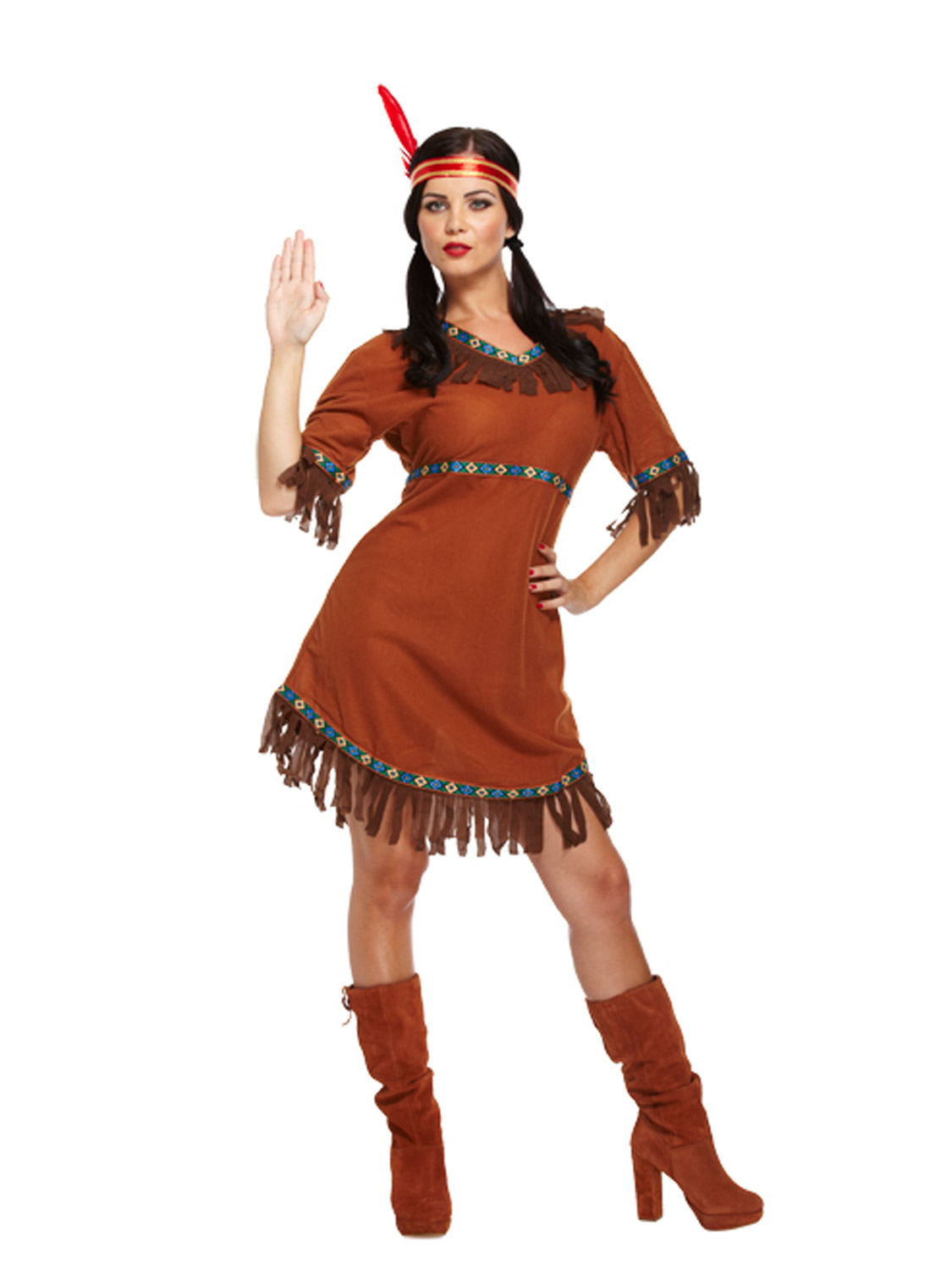 Red Indian Woman Squaw Costume Pocahontas Ladies Womens Fancy Dress Outfit 8- 12 -5293