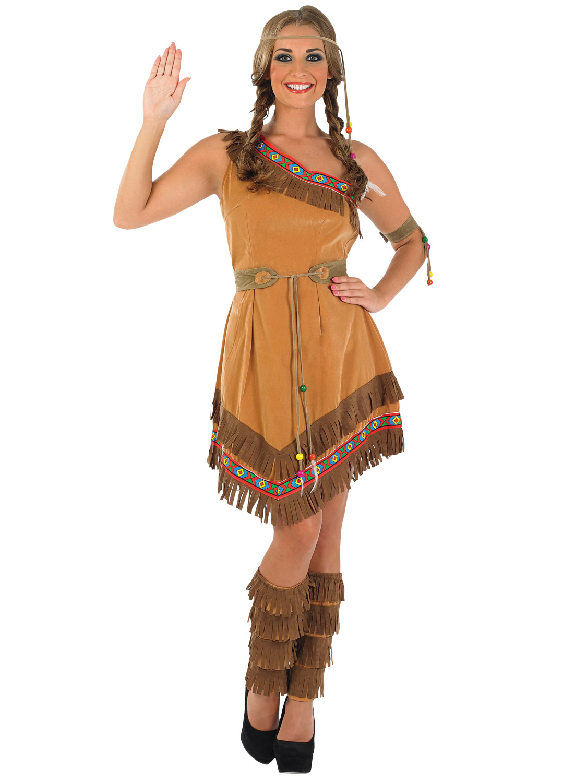 Ladies Red Indian Squaw Costume  All Ladies  Fancy Dress Hub-8023