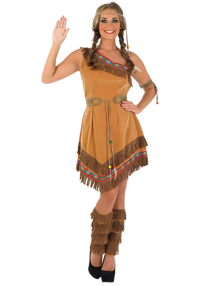 Ladies Red Indian Squaw Costume