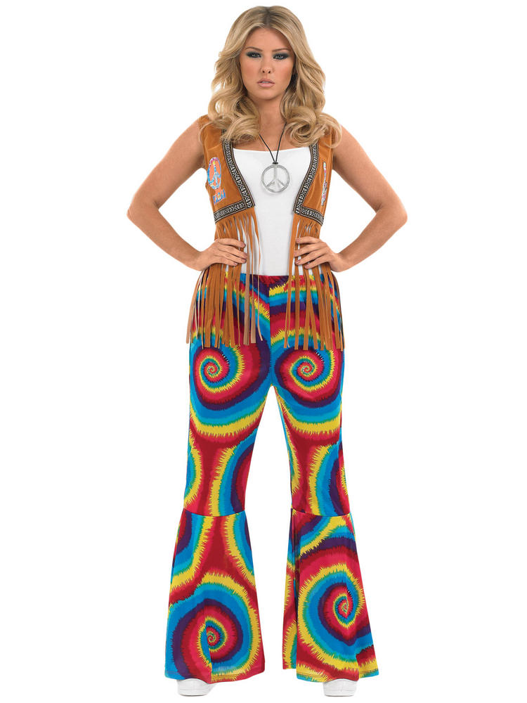 Ladies Hippie Tie Dye Flare