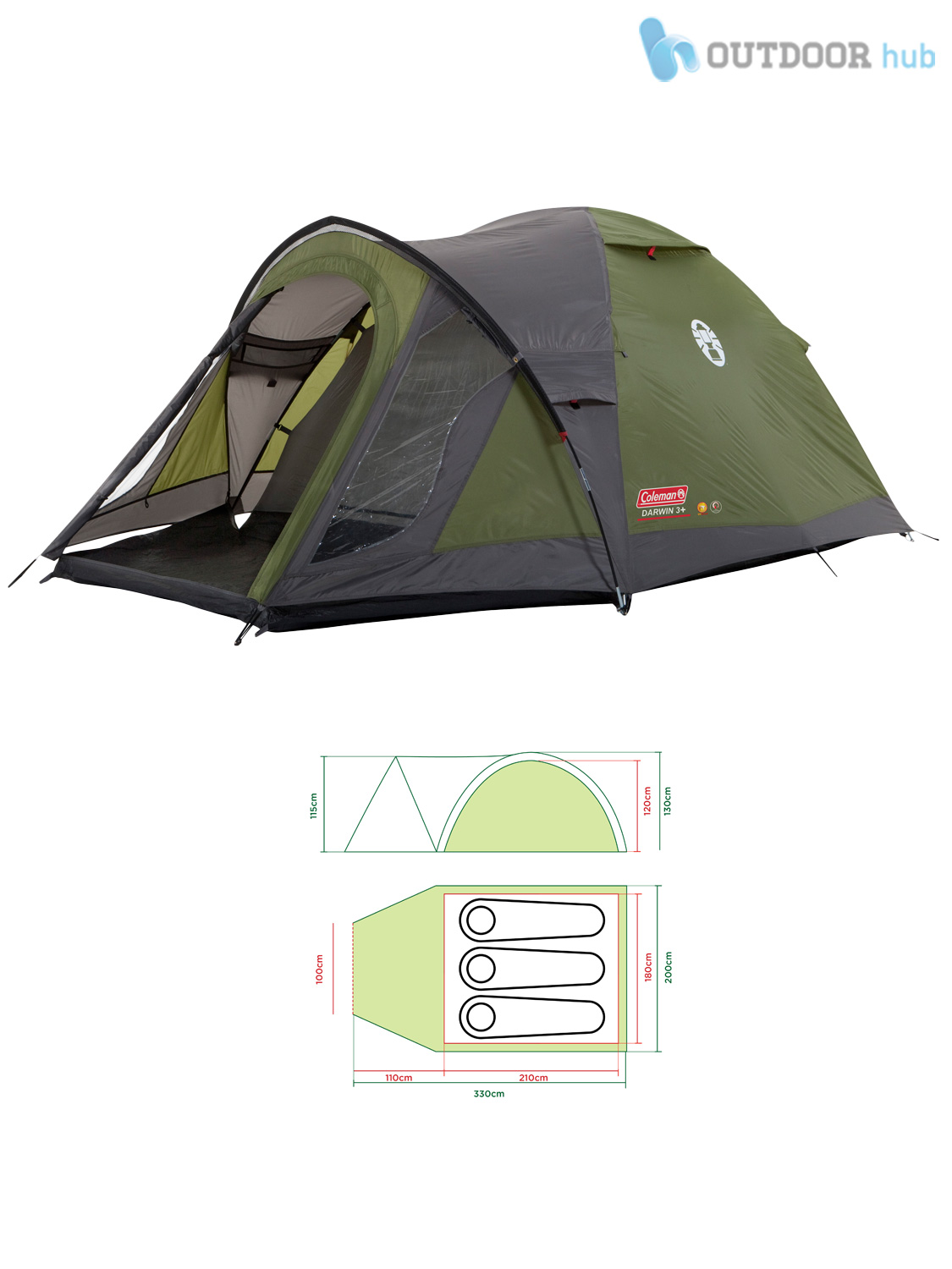 Coleman-Darwin-Plus-Tent-2-3-4-Man-  sc 1 st  eBay : 4 person dome tent with porch - memphite.com