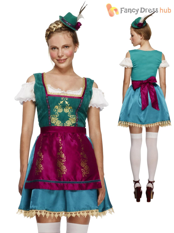 Senoras-Fever-Deluxe-Oktoberfest-Fancy-Dress-Alemana-cerveza-bavara-Maid-Costume