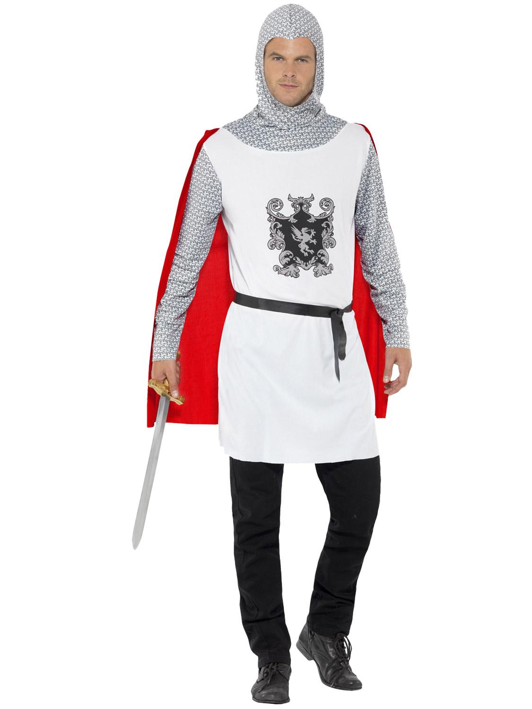 Adult Knight Costume Mens Medieval Crusader Fancy Dress King ...