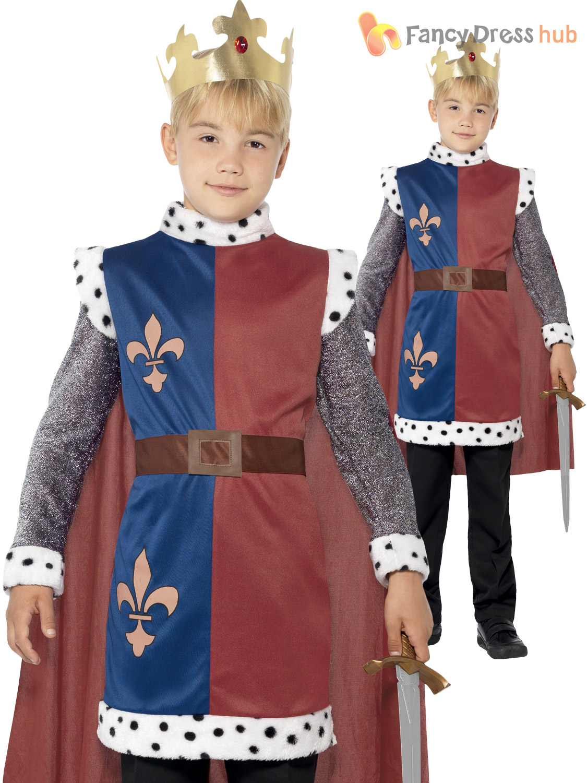 Boys-Childs-Deluxe-King-Arthur-Fancy-Dress-Nativity-  sc 1 st  eBay & Boys Childs Deluxe King Arthur Fancy Dress Nativity Costume Medieval ...