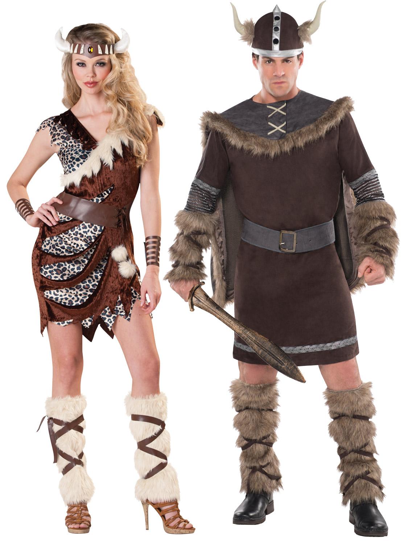 Deluxe Barbarian Viking Costume Ladies Mens Warrior Fancy