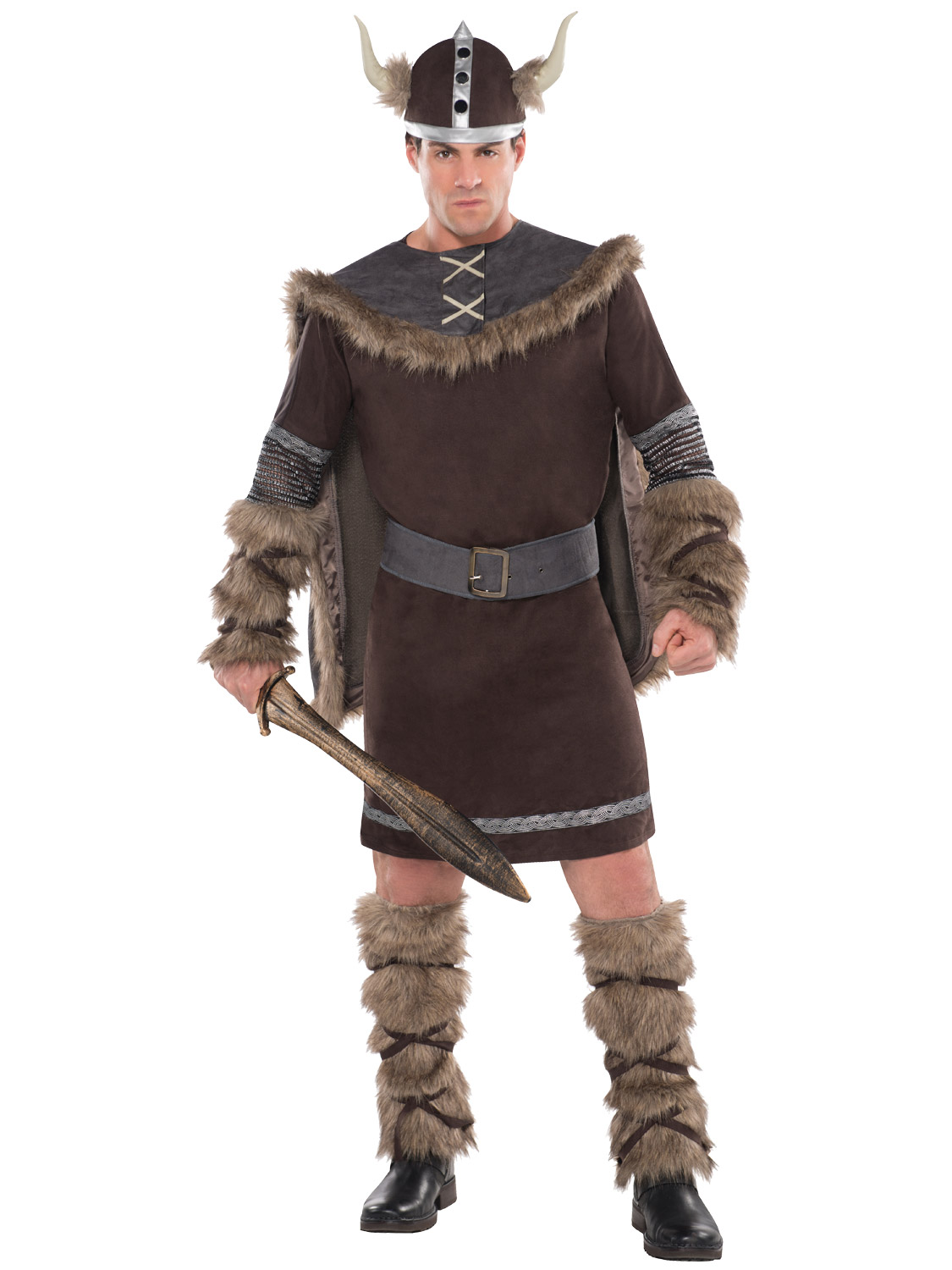 deluxe barbarian viking costume + hat mens warrior fancy dress adult