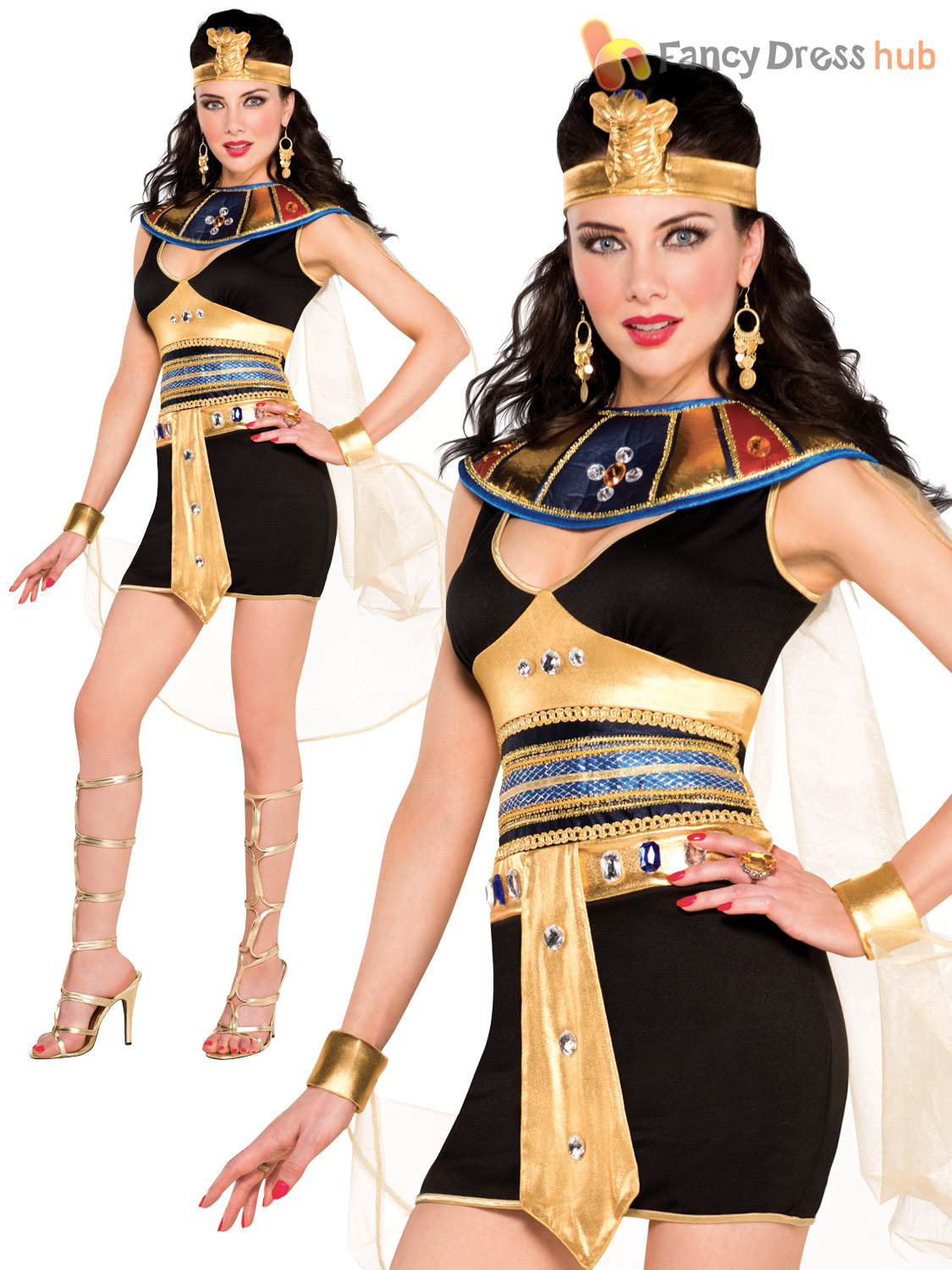 Ladies Sexy Deluxe Queen Cleopatra Egyptian Fancy Dress Costume ... 8a688d6d65e9