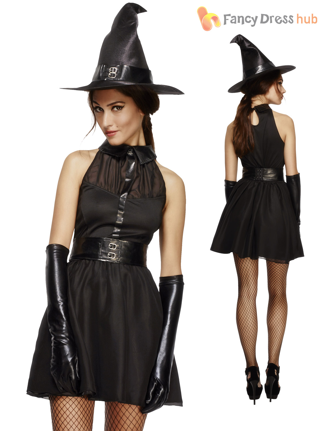 Ladies-Unusual-Witch-Costume-Sexy-Black-Cat-Halloween-  sc 1 st  eBay & Ladies Unusual Witch Costume Sexy Black Cat Halloween Fancy Dress ...