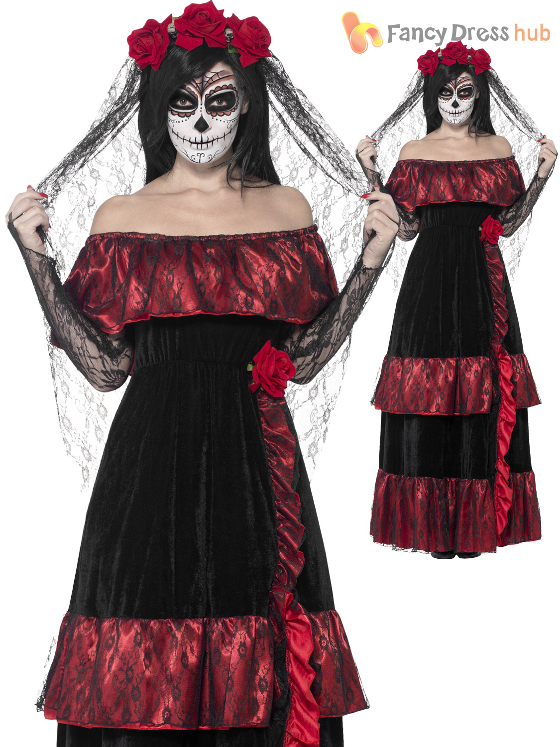 c12901a62f2 Day of The Dead Bride Deluxe Adult Womens Smiffys Fancy Dress Costume - 4  Sizes UK Dress 16-18 43739