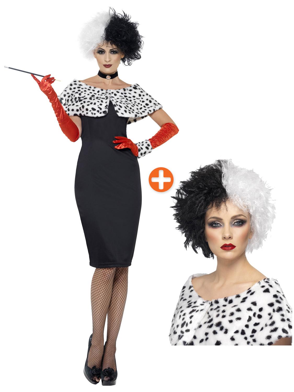 Costume da Crudelia Evil Madame Donna giorno Dalmation Print Costume NUOVO