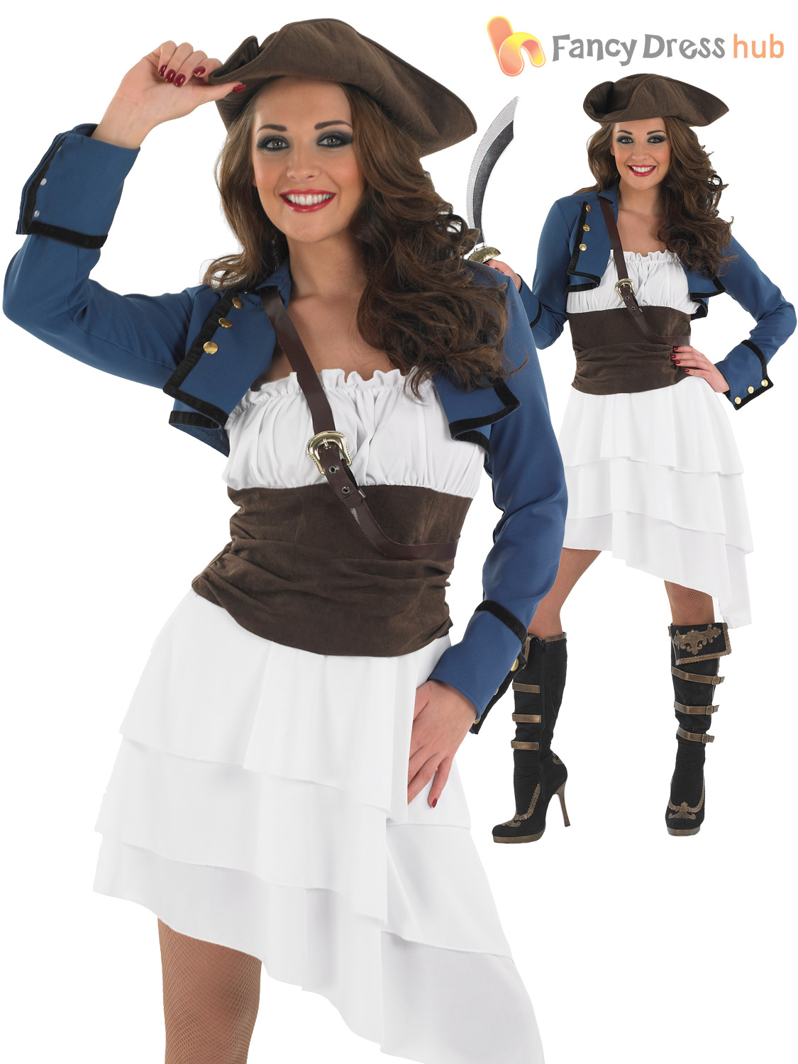 ladies caribbean pirate wench fancy dress outfit womens. Black Bedroom Furniture Sets. Home Design Ideas