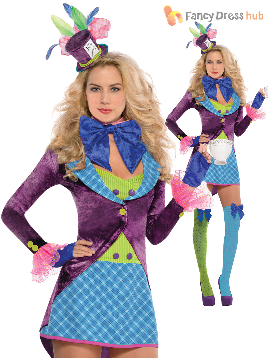 Deluxe Ladies Mad Hatter Costume Womens Fancy Dress Alice Tea Party ... d90526f2516a