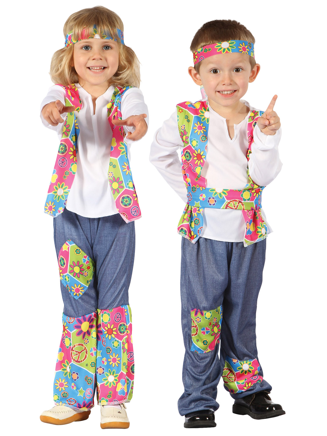 18336ce55ba6 Details about Toddler Hippy Costume Boys Girls 1960 s Fancy Dress Hippie  Outfit 60s 70s Flower