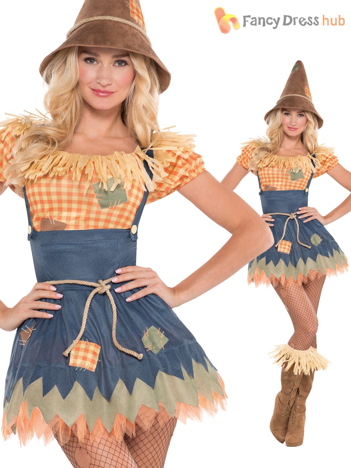 Mens Ladies Scarecrow Costume Book Week Day Character Fancy Dress