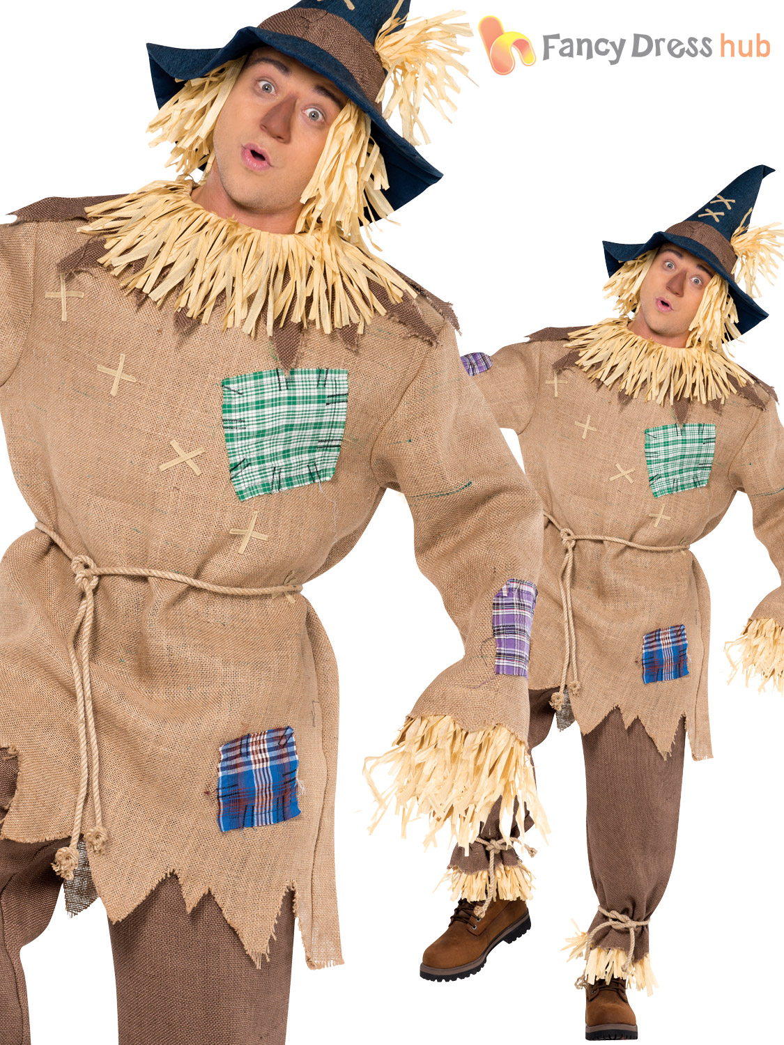 b781033ca40 Scarecrow Mens Fancy Dress Halloween Fairytale Book Week Adults Costume  Outfit