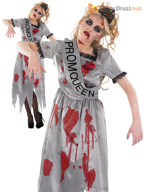 Size 8-22 Ladies Zombie Prom Queen Horror Womens Halloween Fancy ...