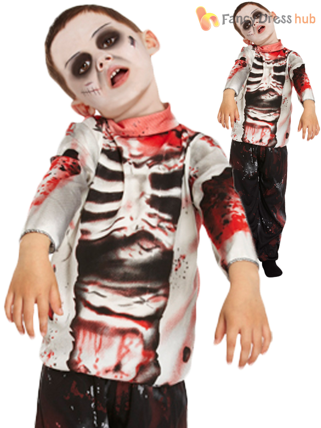 Zombie School Boy Costumes Boys Zombie Halloween Fancy Dress Kids Child Party