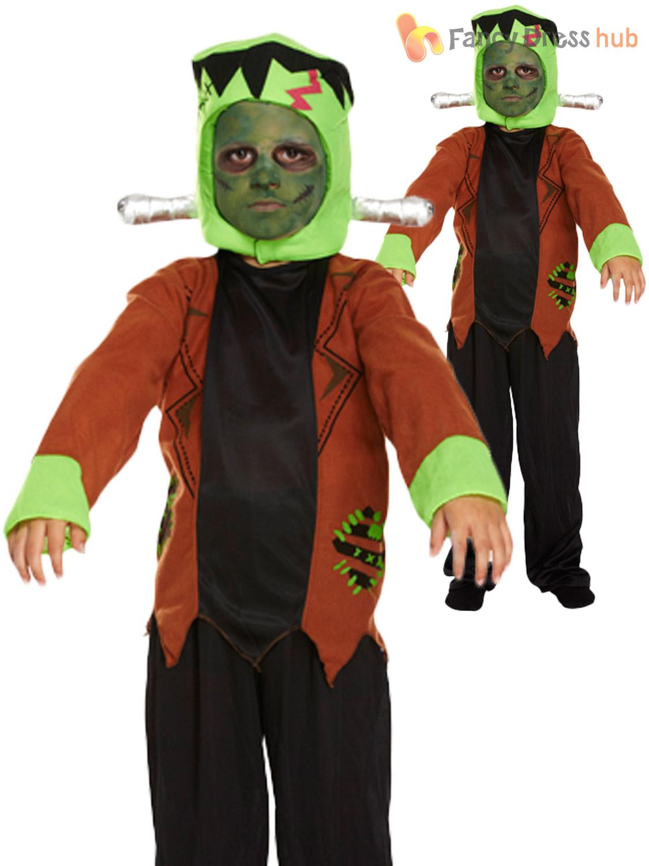 boys frankenstein costume halloween horror kids childrens fancy dress party ebay. Black Bedroom Furniture Sets. Home Design Ideas