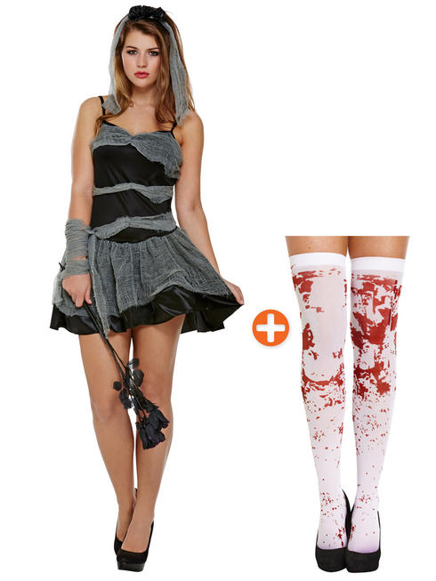 Ladies Buried Bride Costume & Stockings