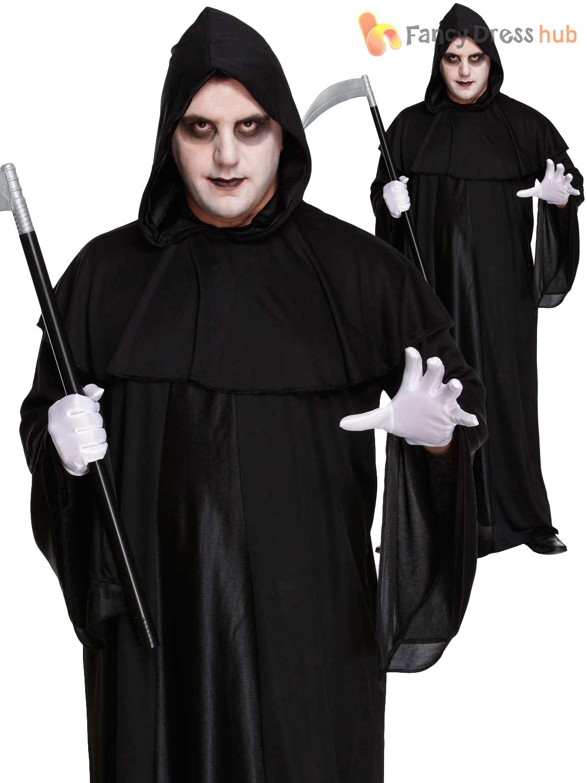 Mens-Grim-Reaper-Costume-Halloween-Fancy-Dress-Outfit-  sc 1 st  eBay & Mens Grim Reaper Costume Halloween Fancy Dress Outfit Death Horror ...