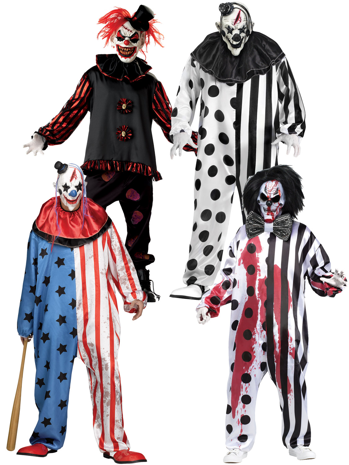Adults Carver The Killer Clown Scary Halloween Fancy Dress Costume