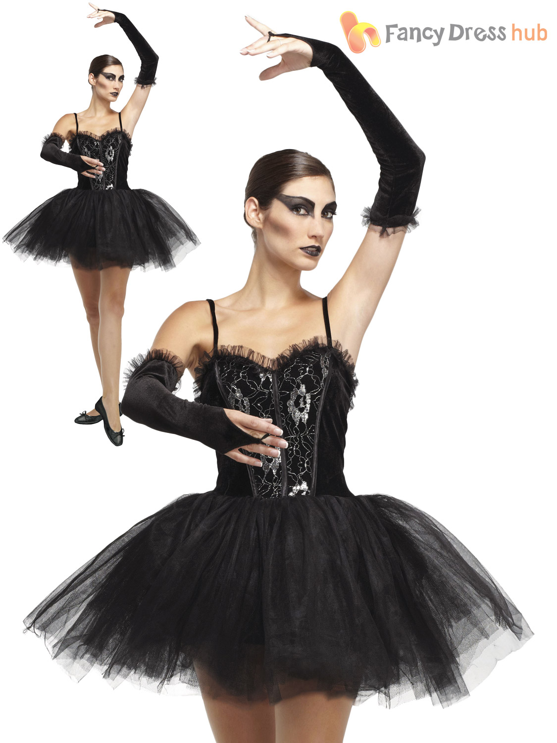Ladies Gothic Ballerina Black Swan Halloween Costume Horror