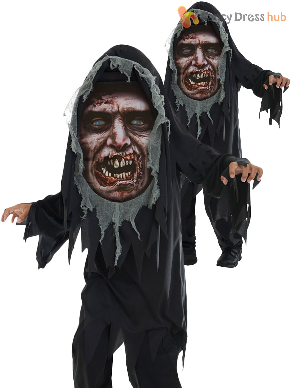 Boys Mad Creeper Zombie Reaper Horror Halloween Costume Kids Child Fancy  Dress