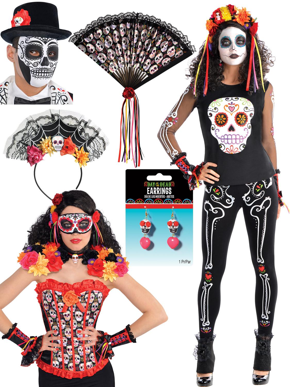 Ladies Day Of The Dead Mexican Sugar Skull Bones Fancy Dress Halloween Costume Stockings