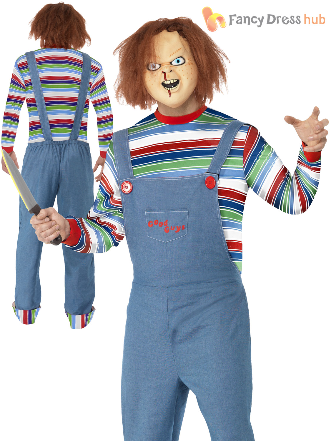 c32a1dc4bf9 Details about Adult Ladies Mens Chucky Costume Halloween Fancy Dress Horror  Movie Childs Play