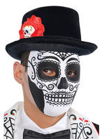 Day Of The Dead Top Hat with Flower