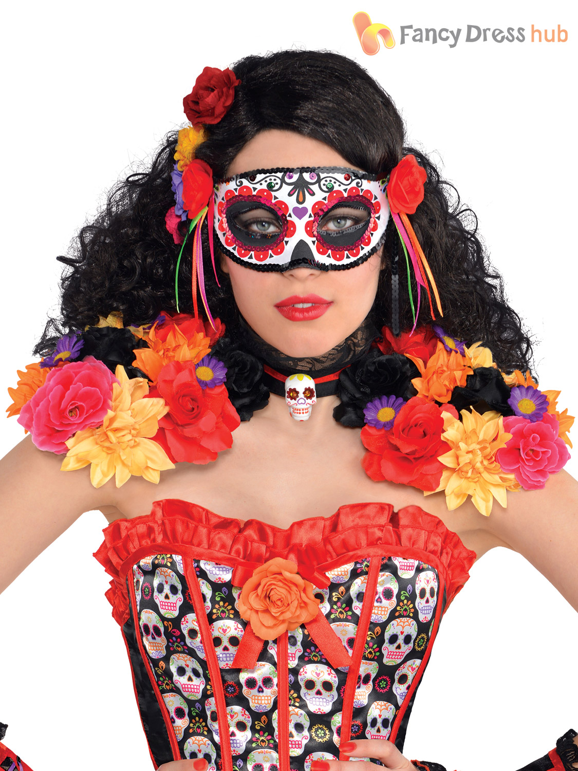 ladies mens day of the dead halloween mexican fancy dress costume