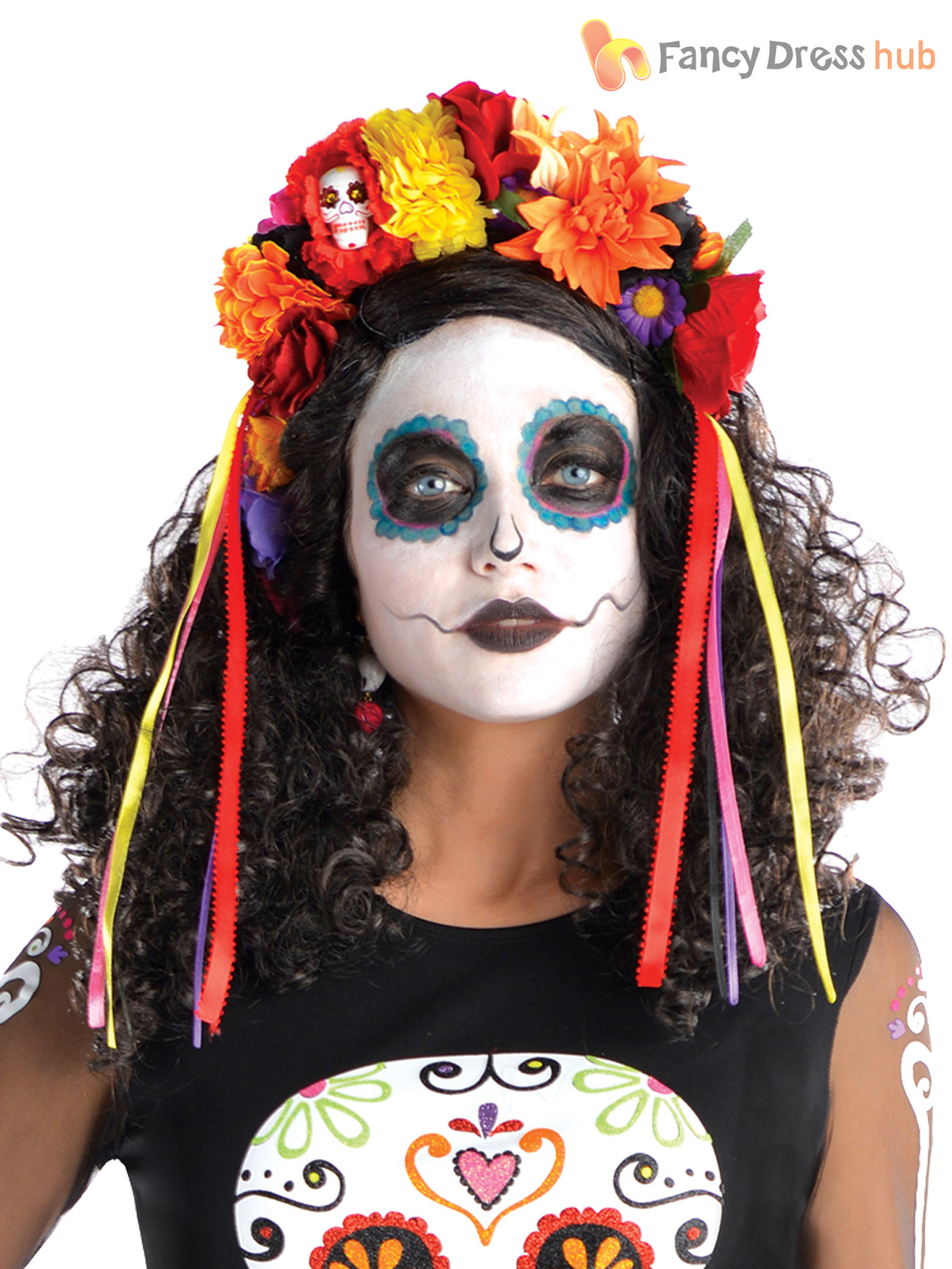 Ladies Mens Day Of The Dead Halloween Mexican Fancy Dress Costume ...