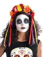 Day Of The Dead Headband with Ribbons