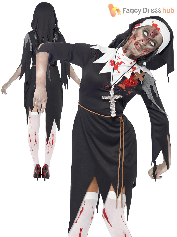 mens ladies zombie bloody nun vicar priest halloween fancy dress couples costume ebay. Black Bedroom Furniture Sets. Home Design Ideas
