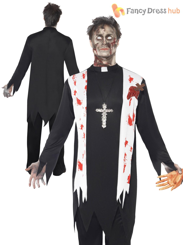 mens zombie dead priest gory horror halloween fancy dress outfit costume large 70715000lge ebay. Black Bedroom Furniture Sets. Home Design Ideas